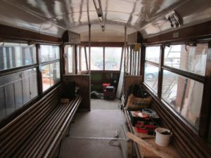 Coach 7 saloon - panelling, ceiling, windows all complete