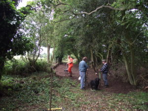 The gang clearing rubbish from the trackbed