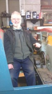 A Happy John in No 6's cab, showing the left-handed driving position