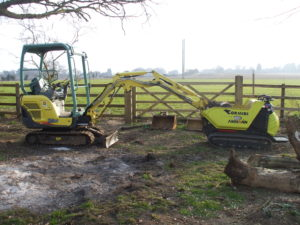 Digger and dumper (yes, I know, but it turned out to be very useful) at the Driftway Crossing
