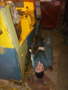 Bob fitting the sander