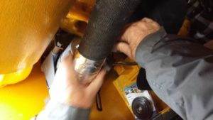 Completing the exhaust wrap on the Motor Rail loco