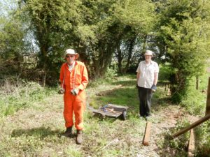 Bob and Stewart (this is the only way we can get the fencing timber to the worksite)