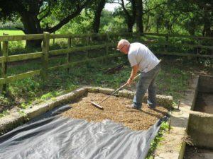 John H spreading shingle, SE corner of shed